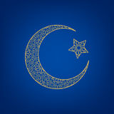 Crescent moon and star. On blue background Stock Photography