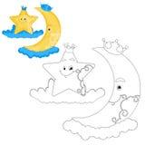 Crescent Moon And Star Coloring-Buch-Seite Lizenzfreie Stockfotos