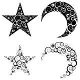Crescent Moon and Star Symbols. Decorative crescent moon and star made with swirls Royalty Free Stock Images