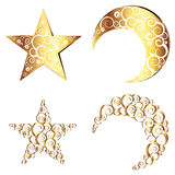 Crescent Moon and Star Symbols Royalty Free Stock Images