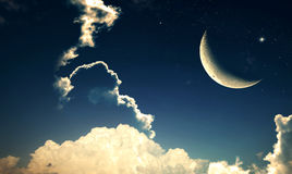 Crescent moon with Stars Stock Image