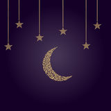 Crescent moon with stars in limbo Stock Photography