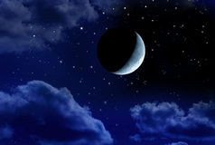 Crescent Moon Stars Night Sky Stock Photo