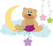 Crescent Moon Teddy Bear Stars Stock Images