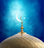 Crescent moon at a top of a mosque Royalty Free Stock Image