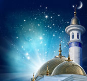 Crescent moon at a top of a mosque. Ramadan Kareem background.Crescent moon at a top of a mosque Royalty Free Stock Photo