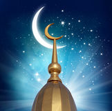Crescent moon at a top of a mosque. Ramadan Kareem background.Crescent moon at a top of a mosque Royalty Free Stock Images