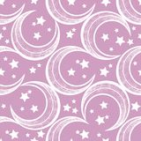 Crescent moon vector seamless pattern with stars. Stock Images