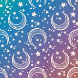 Crescent moon vector seamless pattern with stars. Royalty Free Stock Images