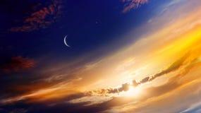Free Crescent Moon With Beautiful Sunset Background . Generous Ramadan . Stock Images - 146969294