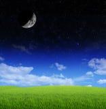 Crescent Moon y estrellas Fotografía de archivo libre de regalías