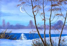Crescent over the winter river. Watercolor landscape. Lights crescent over the winter river Stock Images