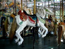 Crescent Park Looff Carousel. Located in Riverside, East Providence, Rhode Island is a National Landmark and still in working condition Stock Photos