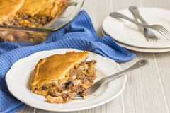 Crescent Roll Lasagna. Lasagna layered with crescent roll dough and ground beef and vegetables, a common meal for families in Hawaii Stock Photography
