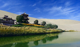The Crescent Spring in Dunhuang,China Royalty Free Stock Photos
