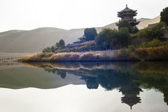 Crescent Spring and Mingyue Pavilion Stock Images