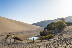 Crescent Spring and Mingyue Pavilion in Dunhuang, China Stock Images
