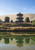 Crescent Spring and Mingyue pavilion in Dunhuang Stock Photo