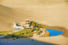 Crescent Spring and Mingyue Pavilion in the morning, Dunhuang of Royalty Free Stock Image
