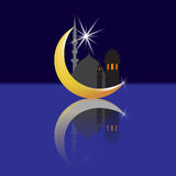Crescent with a star and its reflection. Oriental City and its reflection. Mosques. illustration Stock Photos