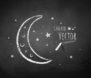 Crescent and stars. Chalkboard drawing of crescent and stars Royalty Free Stock Photo