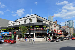 Crescent Street in Montreal. The corner of Crescent Street and De Maisonneuve Boulevard in Montreal.  Crescent St is a very popular area containing many trendy Stock Photos
