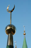 Crescents on the domes of the mosque Royalty Free Stock Photos