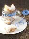 Crescents vanilla and almond cookies Stock Photo
