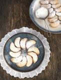 Crescents vanilla and almond cookies Stock Photos