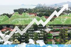 Crescimento bem sucedido do índice conservado em estoque do investimento financeiro mostrado pelo gráfico e pela carta no fundo d imagens de stock