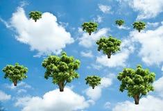crescimento da árvore no céu Conceito da ecologia Imagem de Stock Royalty Free