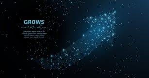Crescimento da seta A arte poligonal da malha olha como a constelação Ilustração ou fundo do conceito ilustração do vetor
