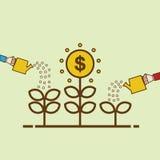 Crescimento de dinheiro cem contas de dólar que crescem na grama verde Ilustração lisa do projeto Árvore molhando do dinheiro da  Imagem de Stock