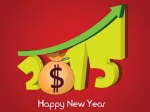 Crescimento de dinheiro de 2015 Ano novo feliz 2015 Fotografia de Stock