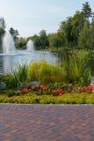 Crescimento de flores bonito em uma cama de flor ao lado de um trajeto das telhas em um parque em um fundo das fontes em uma lago Imagens de Stock Royalty Free