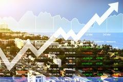 Crescimento do índice de ações mostrado pelo gráfico na estância imagem de stock royalty free