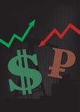 Crescimento do dólar, ilustração da diminuição do rublo Fotos de Stock