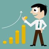 Crescimento do gerente e de dinheiro Fotografia de Stock