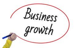 Crescimento do negócio da escrita da mão da mulher com marcador Fotografia de Stock