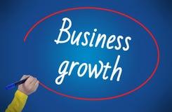 Crescimento do negócio da escrita da mão da mulher com marcador Imagens de Stock Royalty Free
