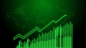 crescimento do negócio 4k e animação de Infographics da seta do sucesso de um néon do verde do infographics do negócio ilustração stock