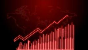 crescimento do negócio 4k e animação de Infographics da seta do sucesso de um néon vermelho do infographics do negócio ilustração do vetor