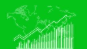crescimento do negócio 4k e animação de Infographics da seta do sucesso de uma alfa verde de néon branca da tela do infographics  ilustração stock