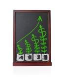 Crescimento dos dólares da árvore acima com tendência estatística do gráfico Fotos de Stock Royalty Free
