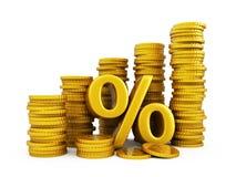 Crescimento dourado das moedas Foto de Stock Royalty Free