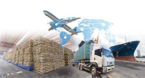 Crescimento e progresso do negócio para a exportação da importação da logística