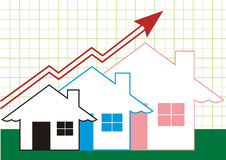 Crescimento nos bens imobiliários coloridos Foto de Stock Royalty Free
