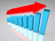 Crescita blu del grafico commerciale 3D Fotografie Stock Libere da Diritti