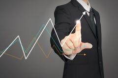 Crescita del grafico di piano dell'uomo d'affari ed aumento del grafico ind positivo illustrazione di stock