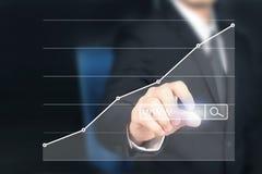 Crescita del grafico di piano dell'uomo d'affari ed aumento del grafico ind positivo illustrazione vettoriale